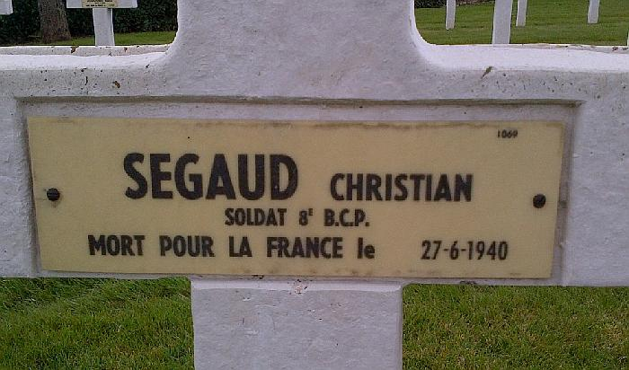 SEGAUD Christian Plaque Tombe